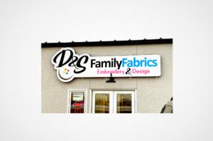 D&S Family Fabrics Shaped Illuminated Sign can