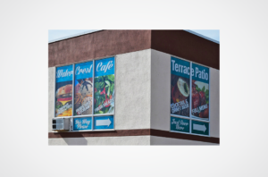 Water Crest Cafe perforated window graphics
