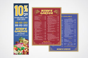 Mihns Garden Menu and Poster